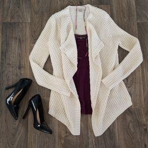 LOFT | Ivory Knit Cardi with Gold Threading